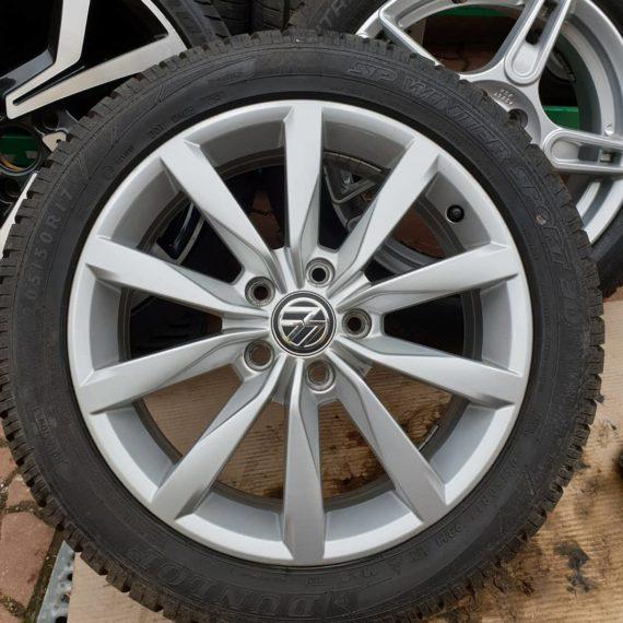 4 jante 205/50/R17 volkswagen Anvelope Dunlop winter sport M+S noi Stare impecabile 5x112