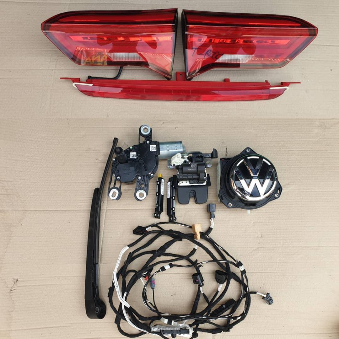VW T-Roc Hayon: Triple led+ stop frana, Camera cu emblema, broasca, motoras stergator, stergator, instalatie, amplificator antena!