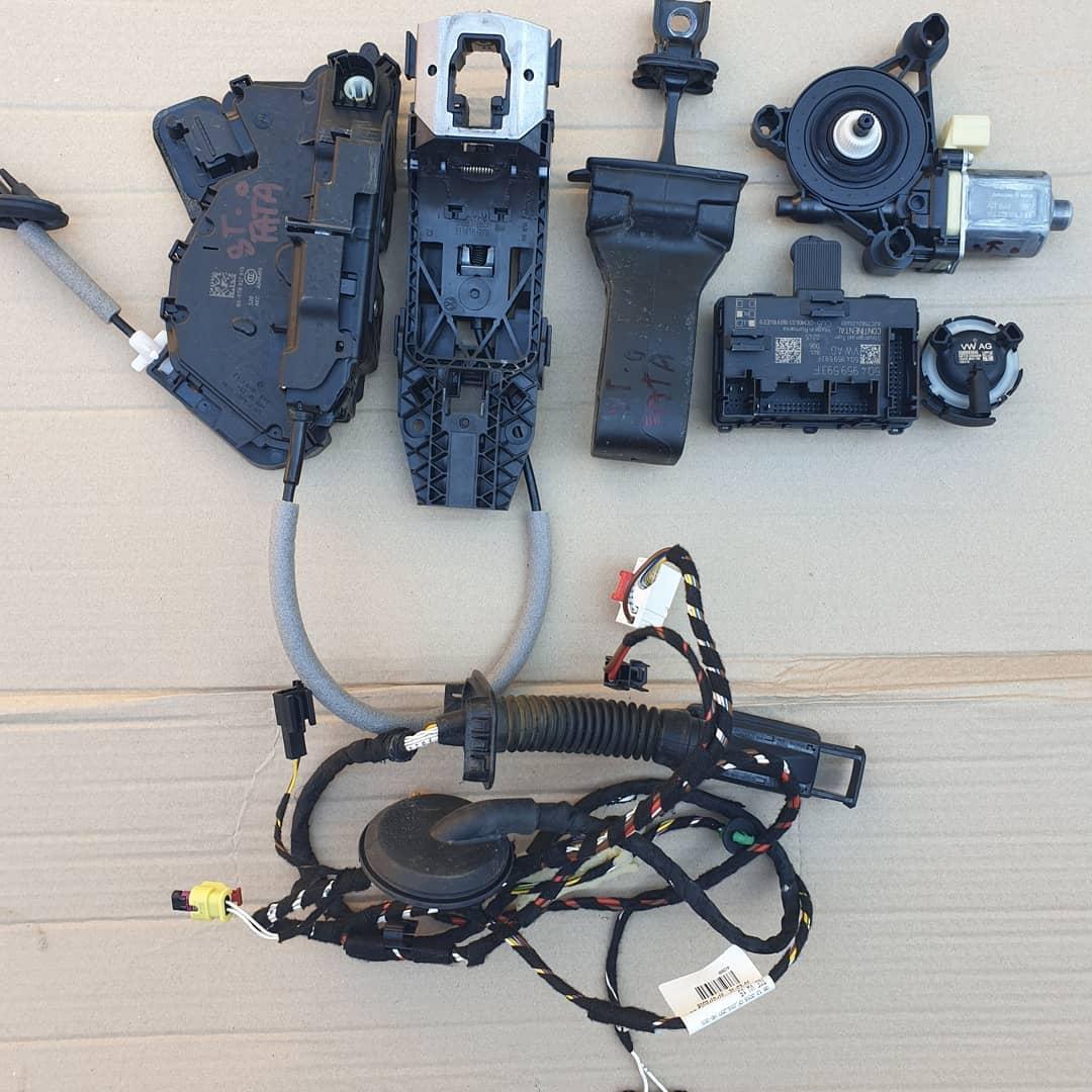 VW T-Roc Macara geam, motoras geam, broasca, incuietoare, balama, senzor impact, modul, instalatie, plastic usa stanga fata.